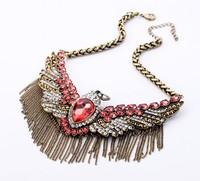 COL055 2014 women New Vintage big Tassels Eagle Shorts Necklaces maxi colares acessorios atacado