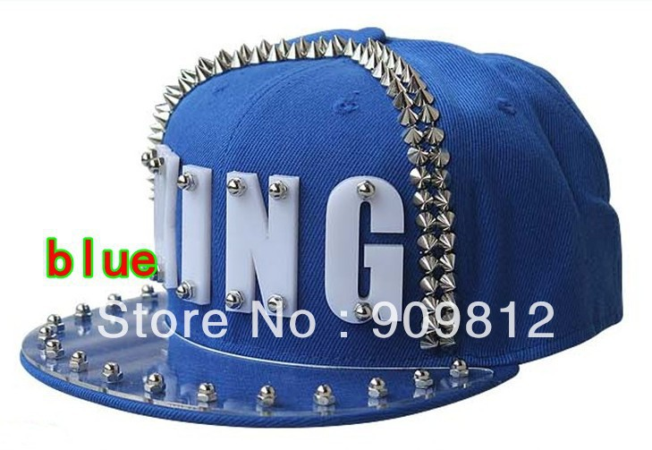 Free Shipping 2013 Punk Style, KING letter flat brimmed hat, Plastic rivets hip-hop cap, Boy hats, Snapback caps(China (Mainland))