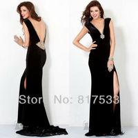 open back evening dress prom gowns 2013 black long dresses deep v neckline cape sleeve floor length side slit