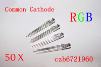 Wholesale IC components 50Pcs 5mm 4pin RGB Tri-Color Common Cathode LED Red Green Blue Free Ship