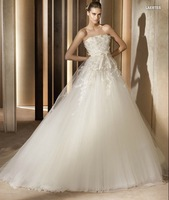 Chapel Train Floor Length Tulle Appliqued Couture Styles A-line Party Wedding Gowns 2013