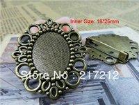 10pcs/lot New Fashion Vintage Bronze Cameo Cabochon Base Setting Charm Brooch Back 18*25mm
