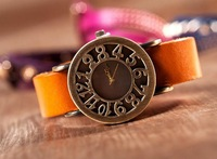 2013 New Arrival Retro Hollow Out Dial Women Quartz Wrist Watch 5 Colors Free Shipping
