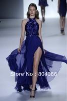 Se18 Sexy Halter Off-shoulder Sequin Dress A-line Floor-length Open Back Zuhair Murad Dresses For Sale Blue Formal Evening Dress