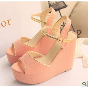 Beautiful comfortable wedges button open toe sandals brief hasp high-heeled platform sandals women&#39;s shoes(China (Mainland))