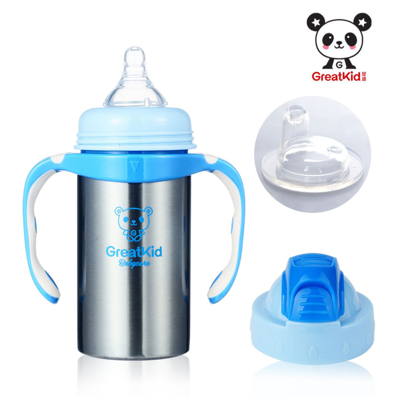 Stainless steel straw insulation bottle baby duck cup feeding bottle with handle cup(China (Mainland))