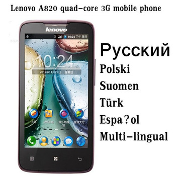 Russian Polish menu Lenovo A820 mobile phone Quad-Core MTK6589 CPU 4.5 inch IPS screen Android 4.1 Multi-language Free Shipping