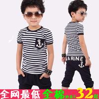 2013 children's clothing child sports set male child short-sleeve stripe set baby child summer