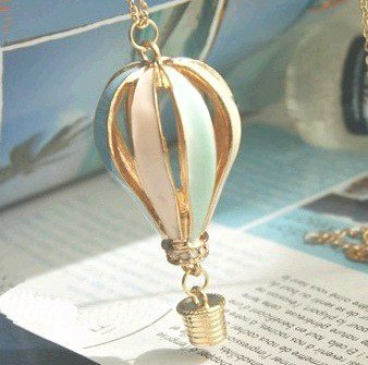 Min.order is $10 (mix order) Fashion vintage Multicolor Hot Air Balloon  PENDANT  Necklaces wholesale!Free shipping! N0128