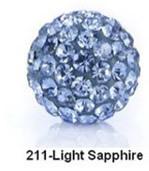Free Shipping Shamballa beads Wholesales, Pave Clay Disco Crystal Ball Beads 10mm, #211Light Sapphire,  20pcs/lot