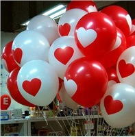 Wedding red heart balloon birthday party balloon 12 heart balloon red white