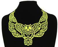 Free Shipping 8pcs/lot Retro hollow out owl neon short necklace 4colors fashion cute lady jewelry K261