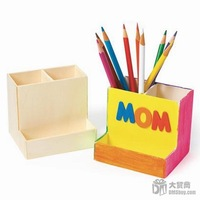 Free Shipping 6pcs/lot Color your own! DIY Unfinished Wood Pen Holders Office Supplies Drawing Toys,10*8.5*9cm