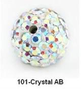Free Shipping Shamballa beads Wholesales, Pave Clay Disco Crystal Ball Beads 10mm, #AB Crystal AB,  20pcs/lot