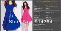 NEW Lady Women Short Sleeve Elegance Layered Ribbon Chiffon Party Dress 4 Colors    free shipping