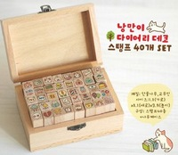 Free Shipping! New wooden cat stamp / 40 pcs/set / DIY funny work / wood box / Wholesale