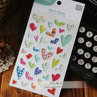 Free shipping! Funny three-dimensional gel decoration stickers photo album heart candy 80 - 71.1  /DIY sticker label/wholesale