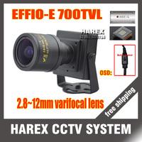 "1/3"" sony effio-e 700TVLine 960H 2.8-12mm varifocal lens OSD Menu Mini cctv camera . Free Shipping"