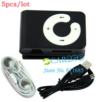 5pcs/lot Newest Rechargeable Mini Black clip MP3 Player Mini USB Micro SD/TF Card Reader Clip-on MP3 Music Media Player 10937