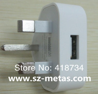 Free Shipping+5pcs/lot, White UK plug 3 pin usb wall charger for iphone, travel charger for ipod ,For iphone 4 4s AC Adapter