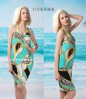 10pcs Colorful Women Leopard Print Swimwear Bikini Cover Up scarf V Neck Gallups Backless Beach Dress