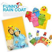 Promotion retail LINDA Japan cartoon animal shaped kid's poncho children raincoat waterproof rain cape