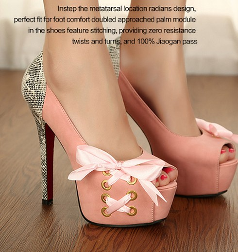 Hot sale summer fashion ribbon bow open toe high platform pumps shoes woman sanke print high heels ladies red sole pumps new(China (Mainland))