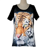 2013 Fashion galaxy top Women O-neck Short Sleeve 3D TIGER Print galaxy T-shirt high quality freeshipping