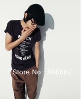 Free Shipping.Wholesale t shirt with English words 100% cotton o-neck short-sleeve T-shirt short sleeve.hot sale low price