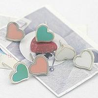 Min Order 12$ wholesale price, vintage colorful heart stud earrings, fashion earring, ES0008