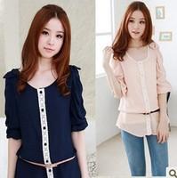2013 new Promotions hot trendy cozy women blouse shirts jacket T-shirt Fashion round collar chiffon