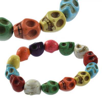 beautiful colors Turquoise Skull Heads Amulet Beads Elastic Band Chain Bracelet(China (Mainland))