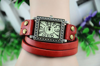 1PCS Antiqued Bronze Rectangle Watch Various colour Double Leather Wrap Bracelet #22861-4