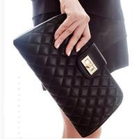 Free shipping wholesale 2014 new woman fashion vintage plaid envelope messenger bag one shoulder bag day clutch handbag