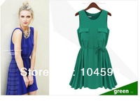 Free shipping!! Hot!!  2013 New Fashion Summer Ladies Chiffon MIni Sleeveless With Pockets Womens Casual Dresses WX-B061