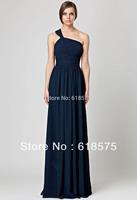 Chiffon One Shoulder Ruched Empire Waist Dark Navy Long Bridesmaids Dress 4520024