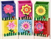 Free Shipping ! 20PCS/LOT , Plant Series Flower&Fruit New Design  Pencil Case / Wooden Pen Box  / Pen Holder