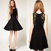 Free shipping!2013 fashion princess elegant slim medium-long sleeveless lace high waist chiffon dress