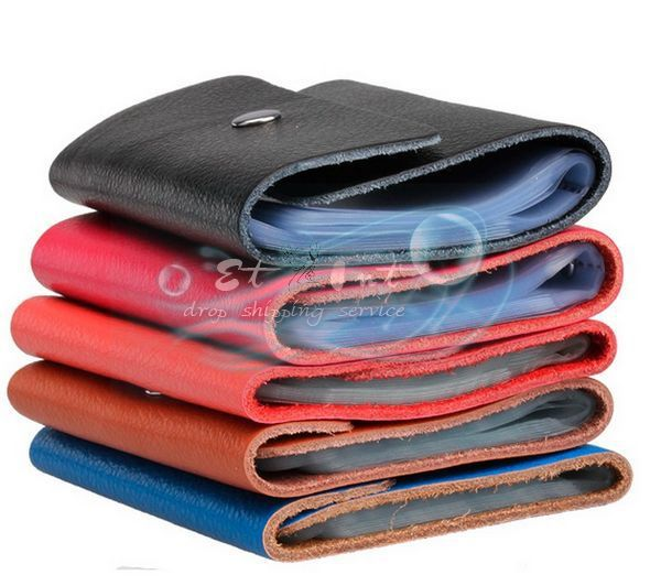 DHL shipping Wholesale Fashion Leather Business ID Name Wallet Holder Credit Card package Case Box Colorful New(China (Mainland))