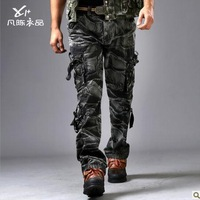 Free shipping Selling hot Tactical military camouflage cargo zipper pockets Army fatigue pants men's outdoor sports trousers