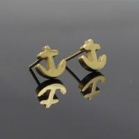 Anchor Earrings For Men's Jewelry,18k gold vacuum plated Stainless Steel Stud Earrings(E0052)