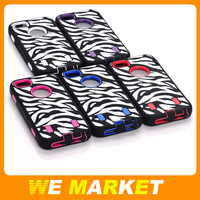 Zebra pattern PC+Silicon cover case for apple iphone 5 5G 100pcs/lot DHL Free shipping