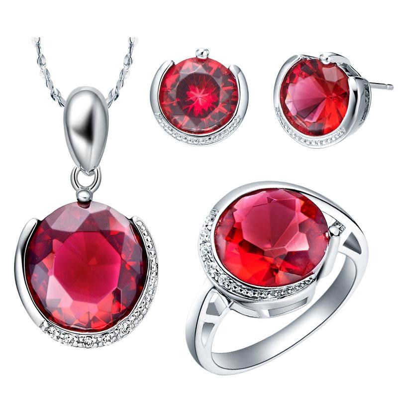 S60010 anneau taille 6789 rubis conjunto de joias bijoux africaine définit 18 k or blanc jewerly définit pour les femmes(China (Mainland))
