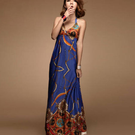 Women&#39;s Bohemian Style V Neck Halter Wrap Backless Maxi Dress w/ Bra Pads - Free Shipping(China (Mainland))