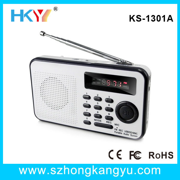 2013 high quality fixed frequency FM radio with LCD display / voice recording function(China (Mainland))