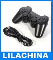 Wholesale Dual-shock USB Wired Controller for PS3 Black USB Cable 1.8m Video Game Joypad Free Shipping
