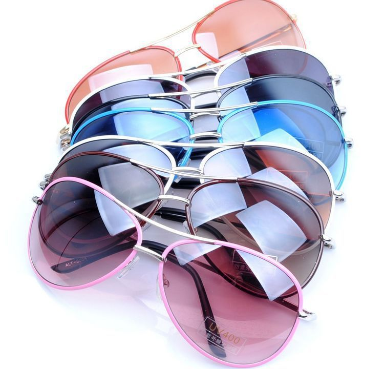1pcs new colorful designer Women sun glasses with 100% UV400 protection GOGGLES,alloy metal baking finish frame(China (Mainland))