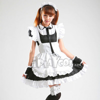 Halloween Sweet  lolita maid cosplay clothes uniform black/pink apron dress set 123