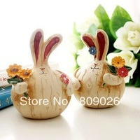 Zakka a pair of rabbit rabbit colored drawing resin decoration display goods, fashion furnishings products  free shipping