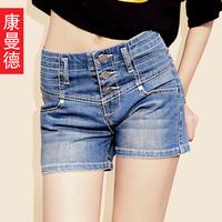 High waist denim shorts female of buttons summer shorts women's elastic shorts female